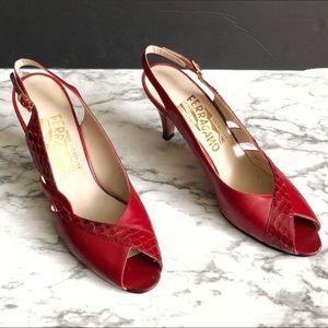Salvatore Ferragamo Red Peep Toe Slingback Heels